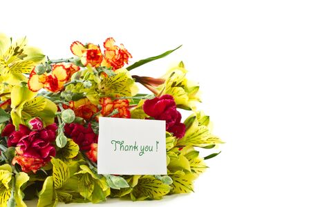 bouquet of alstroemeria with gratitude on a white background photo