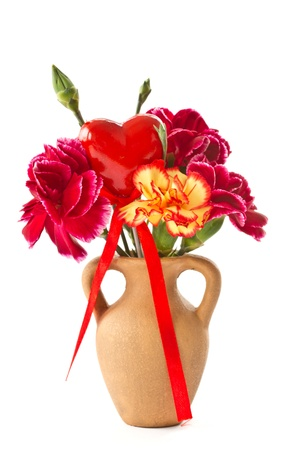 Alstroemeria and red carnations on a white background Stock Photo - 12973398