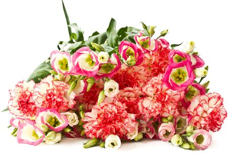 bouquet of pink carnations and lisianthus flowers on a white background photo