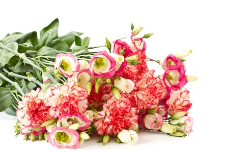 bouquet of pink carnations and lisianthus flowers on a white background Stock Photo - 13075063