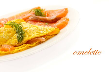 scrambled eggs with salted salmon on a plate Stock Photo - 13075127