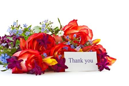 Blumenstrauß aus Rosen und Frühlingsblumen auf weißem Hintergrund Standard-Bild - 13608526
