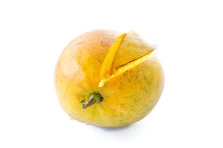 slice of ripe mango on white background Stock Photo - 13608504