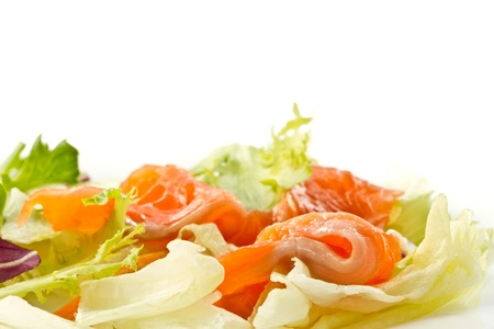 salad with salted salmon on a white background Stock Photo - 13608544