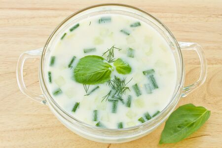 Traditional Bulgarian cold soup with vegetables tarator photo