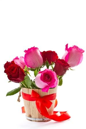 Brillantes hermosas rosas de color rosa sobre un fondo blanco Foto de archivo - 13905316