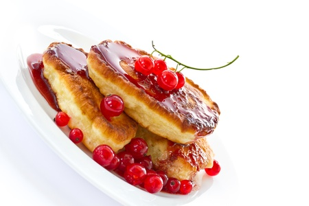 sweet pancakes with jam and red currant Stock Photo - 14091505