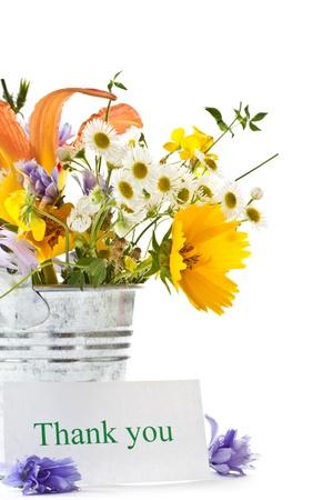 在白色背景上一束野花夏天