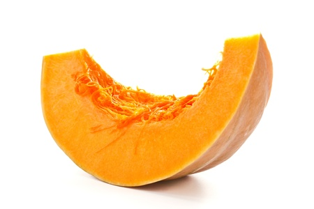 Cut a piece of ripe pumpkin on a white background Stockfoto