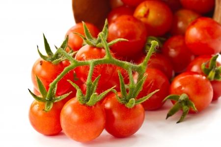 tomate cherry: rama de tomates rojos maduros cereza sobre un fondo blanco