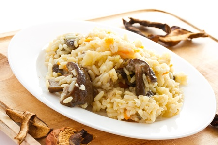 pilau rice with wild mushrooms on a plate photo