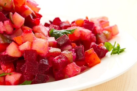 mishmash: mishmash of various boiled vegetables on a white plate Stock Photo