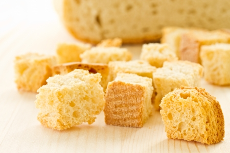croutons: homemade fried croutons of bread close up Stock Photo