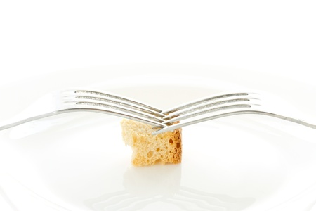 Fried toast with two forks on a white background photo