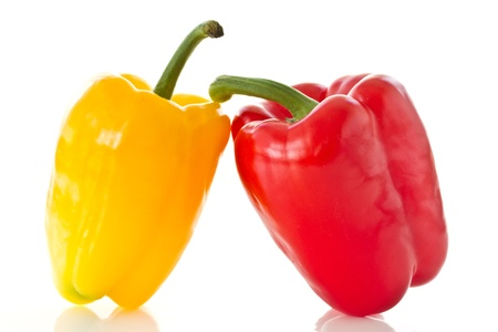 two pepper yellow and red color on a white background photo