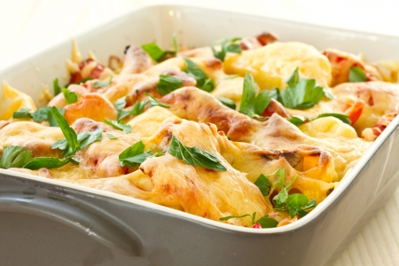vegetables baked with cheese and sprinkle herbs