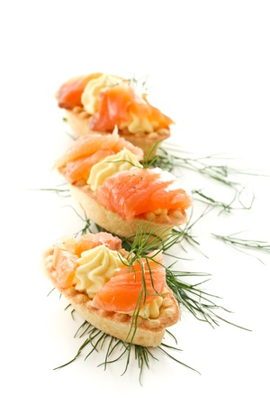 tartlets with cream cheese and salted salmon Stock Photo - 16420736