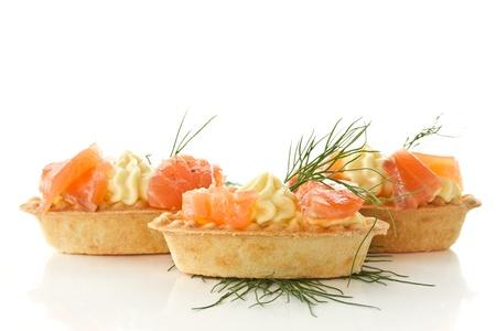 餡餅奶油奶酪和醃製三文魚 版權商用圖片