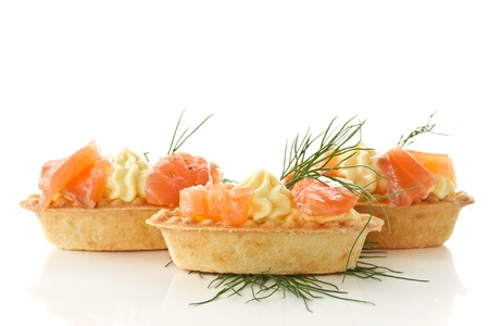 tartlets with cream cheese and salted salmon Stockfoto