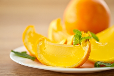orange jelly orange slices on a plate Stock Photo - 16582390