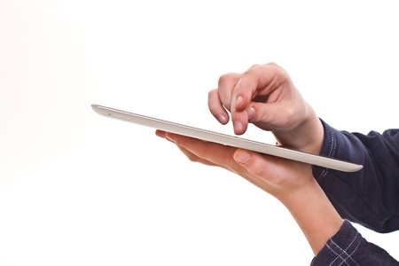 finger touches the tablet on a white background Stock Photo - 16823410