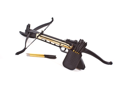 crossbow: crossbow and arrows on a white background Stock Photo
