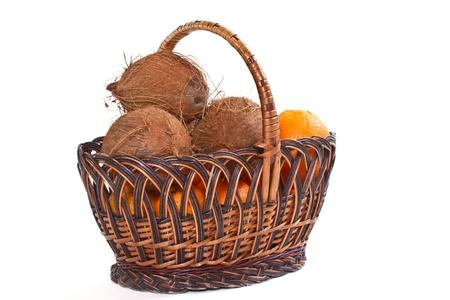 whole fruit ripe coconut on white background Stock Photo - 17016511