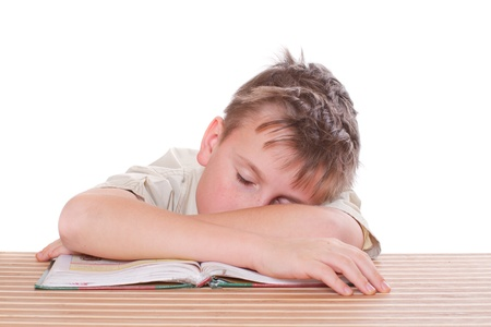 tired student sleeping in class on a white background photo