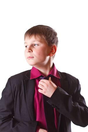 boy in a black jacket on a white background photo