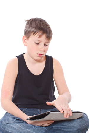 boy with a Tablet PC Stock Photo - 17336600