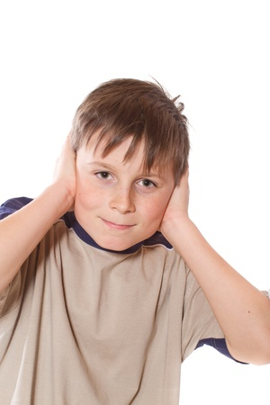 boy with closed ears photo