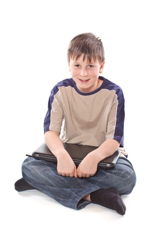 teenage boy with a laptop photo