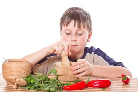 Boy preparing breakfast photo