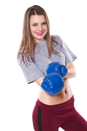 sexy teenage girls: girl with boxing gloves on a white background