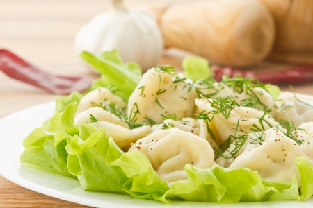delicious dumplings boiled in fresh lettuce leaves Stock Photo - 17604166