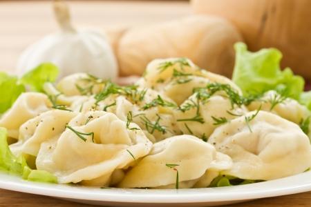 delicious dumplings boiled in fresh lettuce leaves Stock Photo - 17604168