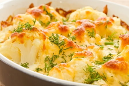cauliflower baked with egg and cheese with dill Stock Photo
