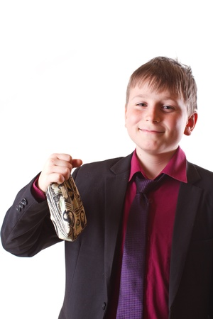 boy with money bag on a white background photo