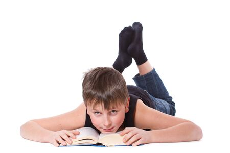 tutorials: boy reading a book on white background