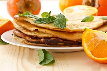 stack of pancakes on a plate of various fruits Stock Photo - 17905866