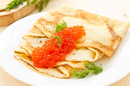 pancakes with red caviar on a plate Stock Photo - 17906041