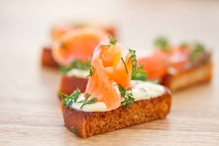 Fried toast with cheese and salted salmon Stockfoto