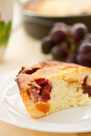 Cottage cheese cake with fruit on a plate Stock Photo - 18296413