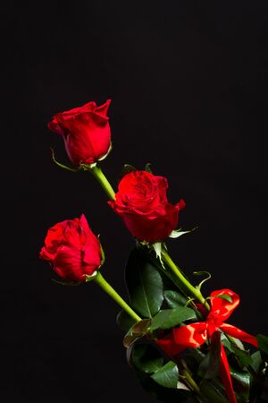bouquet di rose rosse su uno sfondo nero photo