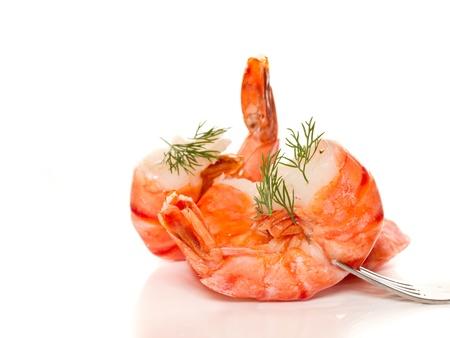 large shrimp cooked on a white background Stock Photo
