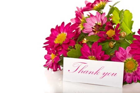 thanks with flowers in a bucket on a white background Stock Photo - 18534113
