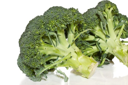 cruciferous: large green broccoli on a white background Stock Photo