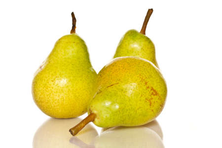 few: few ripe pears on a white background Stock Photo
