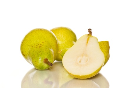 few ripe pears on a white background photo