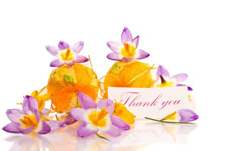 thanks with spring crocuses and Easter eggs photo